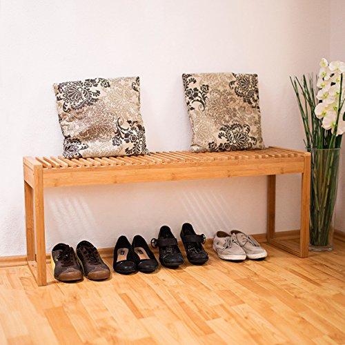 Relaxdays Sitzbank Bambus HxBxT: ca. 47 x 120 x 33 cm stabile und geräumige Gartenbank auch als Dielenbank mit Platz für 3-4 Personen aus Bambus für die Terrasse, den Balkon und die Wohnung, natur - 2