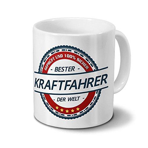 printplanet Tasse mit Beruf Kraftfahrer - Motiv Berufe - Kaffeebecher, Mug, Becher, Kaffeetasse - Farbe Weiß