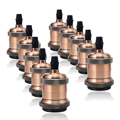 GreenSun 10pcs Retro Portalampada E27 Edison supporto dello zoccolo della lampada in metallo , Sospensione Versione Della Lampada Vintage Stile Ceramica isolante Fai Da Te Ciondolo G05