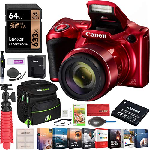 Canon PowerShot SX420 Digital Camera w/ 42x Optical Zoom Ultra Wide-Angle Lens Wi-Fi & NFC Red 1069C001 Bundle with Deco Gear Travel Case + 64GB Card + Tripod + Software & Accessories Kit