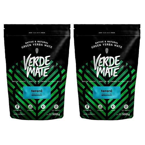 Yerba Verde Mate Green Terere Te | Verde Mate Green Terere | Yerba Mate de Brasil | Alta calidad | Yerba mate muy refrescante | Sin gluten | Secada sin humo (1000g (2x500g))