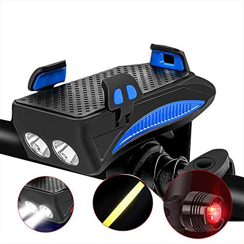 Luz de bicicleta, recargable por USB, impermeable, luces delanteras y traseras para bicicletas, con batería de 2000 mAh, negro y azul