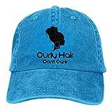 Ahdyr Pelota de Tenis Negra y Raqueta Sombreros de Mezclilla Lavados Gorra de béisbol Hombres Mujeres-Cabello Rizado Don 't Care/Azul