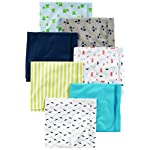 Nicole Miller New York Baby Girls 4 Pack Laddered Receiving Blankets with Print, Leopard Hearts