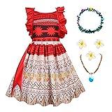 O.AMBW Disfraz de Moana Cosplay con Accesorios Princesa Moana Jefe de Motunui Traje de Aventura Vestido de niña de 2 a 8 años Celebración Fiesta de cumpleaños Verano Cosplay Vaiana