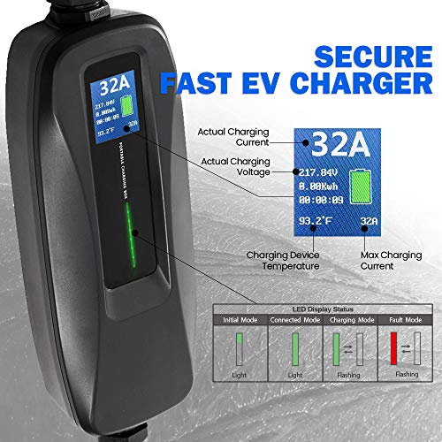 Morec EV Charger Level 2 32 Amp Portable Electric Vehicle Charger, NEMA 14-50 220V-240V 26ft (7.9M) EV Charging Cable, SAE J1772 Compatible with Most Electric Cars