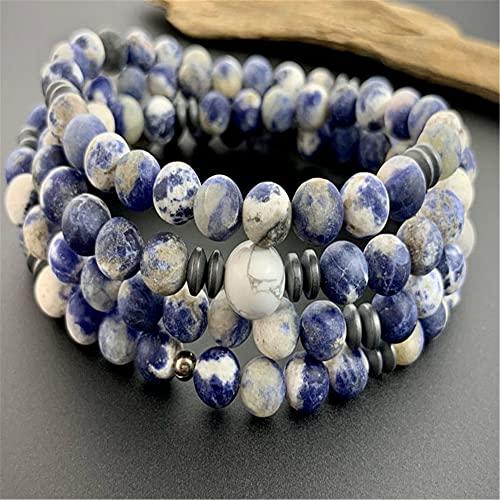 XIAOLONG 8Mm Piedra Preciosa Natural Azul sodalita 108 Cuentas Mala Pulsera Lucky Reiki Chic Yoga Brazalete Colorido Elegante Elegante Hecho a Mano