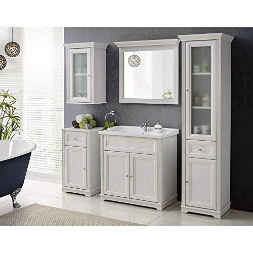 Lomadox Bad-Möbel Komplett Set 5-teilig ● Andersen Pine weiß im Landhausstil ● 80 cm Waschtischunterschrank inkl Keramikwaschbecken ● Spiegel, Hochschrank, Unterschrank und Hängeschrank