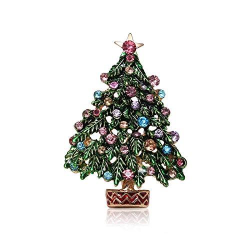 JKDFGJ Rhinestone Crystal Green Tree Brooches for Women Men Wedding Christmas Party Enamel Bouquet Pin Jewelry Decoration