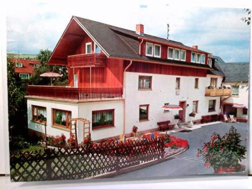 Bad Endbach / Kneippkurort. Pension Lisette Koch. Alte AK farbig. Gebäudeansicht, Hof mit Sitzecke und Sonnenschirmen, Gartenansicht