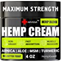Natural Hemp Cream for Muscles, Joints, Back, Knees, Neck, Fingers, Elbows - Made in The USA - High Strength Hemp Oil Extract with Arnica, Emu Oil, Turmeric - 4oz