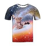 SKQIT Camisetas Divertidas para Hombres, Camiseta con Estampado Juniors 3D Gato Espacial Que Cae libremente Camisetas con Cuello Redondo Camisetas