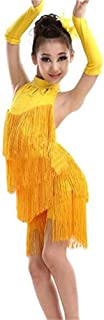 Yamyannie-Gdr Vestido de Baile de Las niñas, Niñas sin Mangas Halter Backless Borla Latin Dance Dress Niños Salón Salsa Sa...