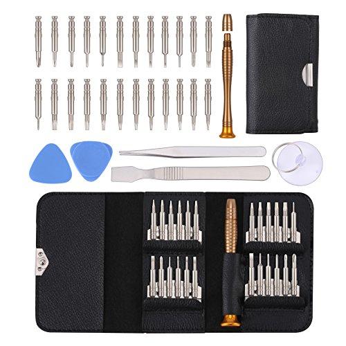 Reparatur Öffnungs Werkzeug Kit, KWOKWEI 30 in 1 Reparatur Werkzeug Set Tool Kit mit 24 Bits Magnetische Schraubendreher, Mini Schraubendreher Set aus S2 Material für Apple iphone 8 7 Plus 6S 5s 5c 4s
