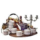 NOSSON Juegos De Té con Tetera, Juego De 15 Porcelana, Porcelana, Porcelana De Hueso, Café, Juego De Té con 1 Cafetera, 6 Tazas, 6 Platillo, 1 Recipiente para Leche, 1