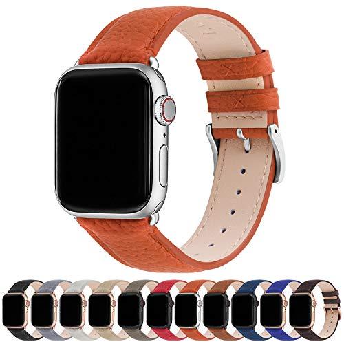 Fullmosa Compatible avec Bracelet Apple Watch 44mm 42mm 40mm 38mm,pour Bracelet Apple Watch se serie 6 5 4 3 2 1 Sport en Cuir Femme Homme 42mm 44mm Orange Citrouille +Argent Fermoir