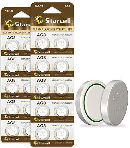 Bottone da 1,55 V, confezione da 20 batterie a bottone per orologio AG8 AG LR1120 LR55 LR1120-8