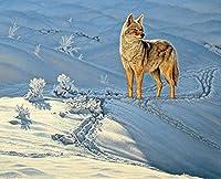 クロスステッチ 大人のためのクロスステッチキット 雪の上のオオカミ 40x50cm 11CT番号別刺繍キット手作りキットパンチ針刺繍DIY初心者向け手作りスターターキット