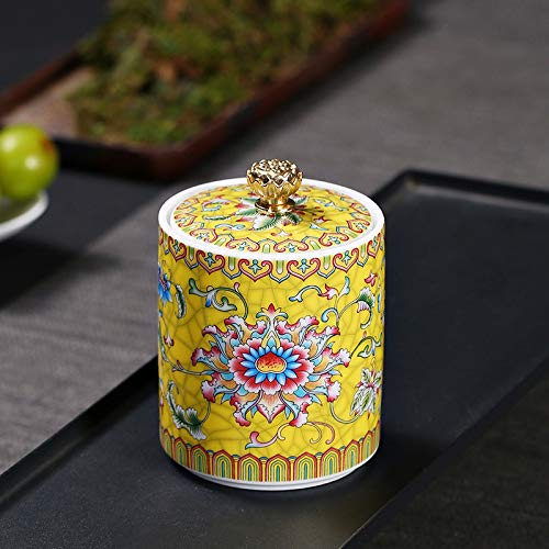 SONLI Urnen Für Asche Erwachsene Groß Feuerbestattung Urne Human Pet Memorial Pot Beerdigung Keramik Home Seal Urnen Beerdigung Gedenkfeier,Yellow