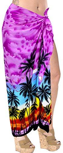 LA LEELA Pareo de Trajes de baño Ropa de Playa Envoltura Traje de baño Traje de baño Encubrir Falda de Las Mujeres de Color púrpura