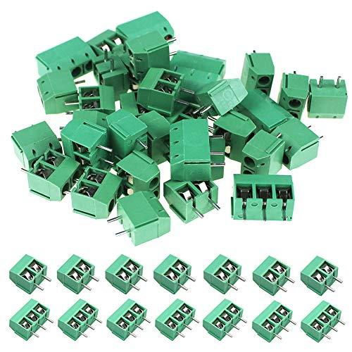 WayinTop 60 Stücke PCB Schraubklemmen 5.08mm 2 Pin/3 Pin PCB Mount Screw Terminal Block Lötbare Steckverbinder 300V 16A für Arduino (2Pin-50, 3Pin-10)