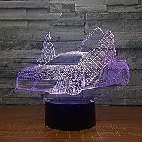 3Dナイトライトはさみドアスーパーカー3Dランプ7色LedナイトランプキッズタッチLedテーブル睡眠常夜灯