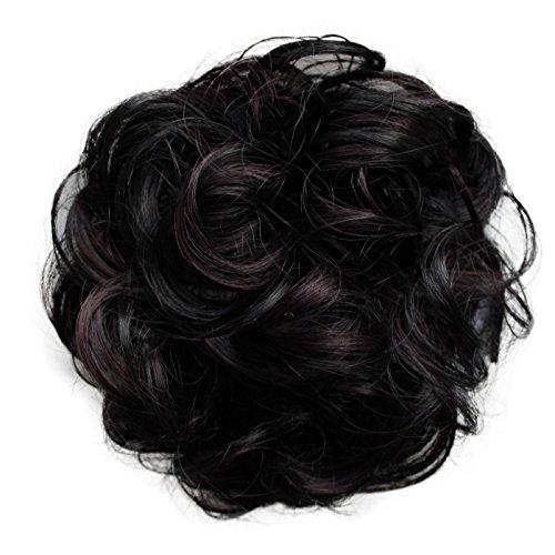 PRETTYSHOP Haarteil Haargummi Hochsteckfrisuren Brautfrisuren Voluminös Gelockt Unordentlich Dutt Schwarz Dunkelrot Mix G35A