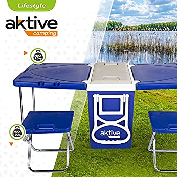 AKTIVE 52994 Ensemble réfrigérateur avec Table et tabourets, Multicolore