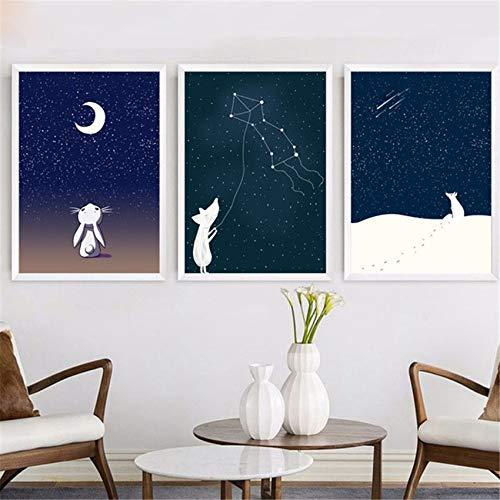 Blick auf die Sterne Fairy Cartoon Bunny Fox Weißes Tier Abstraktes Poster Kinderzimmer Wohnkultur Wandkunst Leinwand Gemälde 60 * 80cm