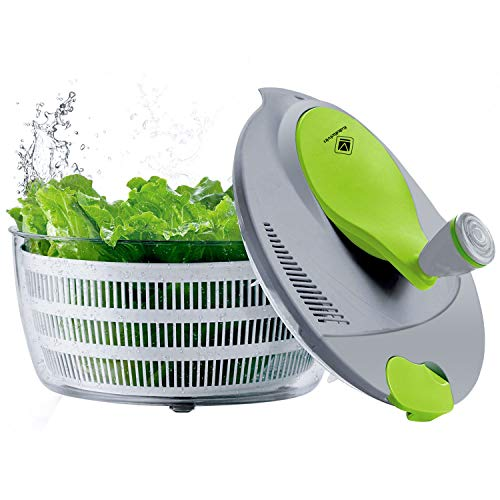 Salad Spinner Large 4 Quarts Quick Vegetables Dryer BPA Free Drain Lettuce and Vegetable for Home Kitchen, Green and White