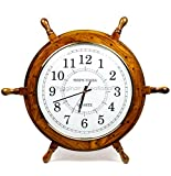 Nagina International Nautical Moon Light Blue Large Wooden Ship Wheel with Ship's Time Captain's Clock - Pirate Home Decorative Clock (16 Inches, White Dial Face)
