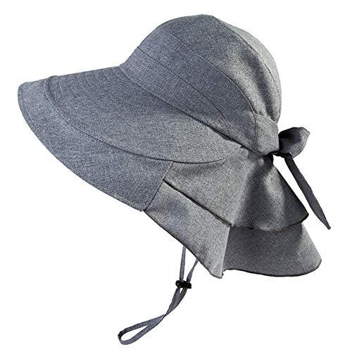 Comhats Grauer Sonnenhut Baumwolle UPF 50 + Sun Shade mit Nackenschnur Damen