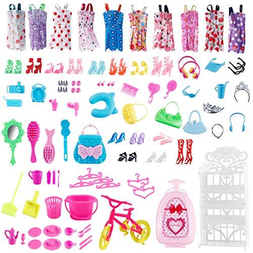 96 Pezzi Accessori per Bambole 10 Pezzi Gonne Estive Abiti + 56 accessori per bambole, giocattoli per doll, accessori casual, scarpe, borse, collane per Bambola per 11.5 Pollici 28-30 cm Bambola