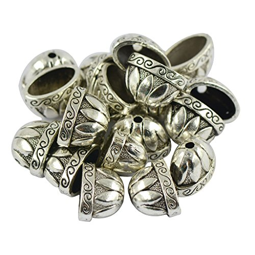 Bhuuno 20 Pieces Tibetan Silver Large Pewter Flower Focal Beads