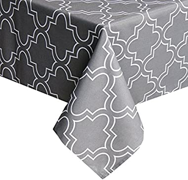 UFRIDAY Grey Tablecloth 52-Inch x 52-Inch Spill Proof, Printed Table Cloth for Square Tables