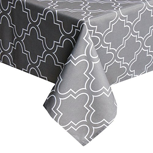 Grey Square Tablecloth 52 x 52 Inch Spill Proof, Printed Table Cloth for Square Tables