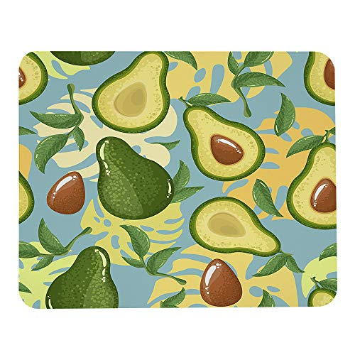 Wozukia Avocado Mouse Pad Avocado Slices Blue Exotic Monster Leaves Tropical Summer Vegetable Fruit Gaming Mouse Mat Non-Slip Rubber Base Thick Rectangle Mousepads for Laptop Computer PC 9.5x7.9 Inch