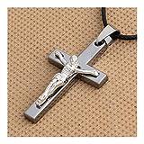 YUNGYE - Collar con colgante de crucifijo de Jesús, color plateado, acero inoxidable, para hombre, cadena católica, regalo