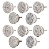 Knober Möbelknopf Keramik Weiß Art-Deco Landhausstil Shabby-Chic Kommodenknopf Kommodengriff (03. SW-Mix 10 Stück)