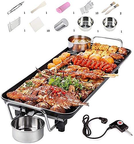 ZQCZ Teppanyaki Grill eléctrico Tabla, la Barbacoa Plancha, Plancha Antiadherente con Temperatura Ajustable, 48 x 28 cm, para la Cubierta al Aire Libre 1400W
