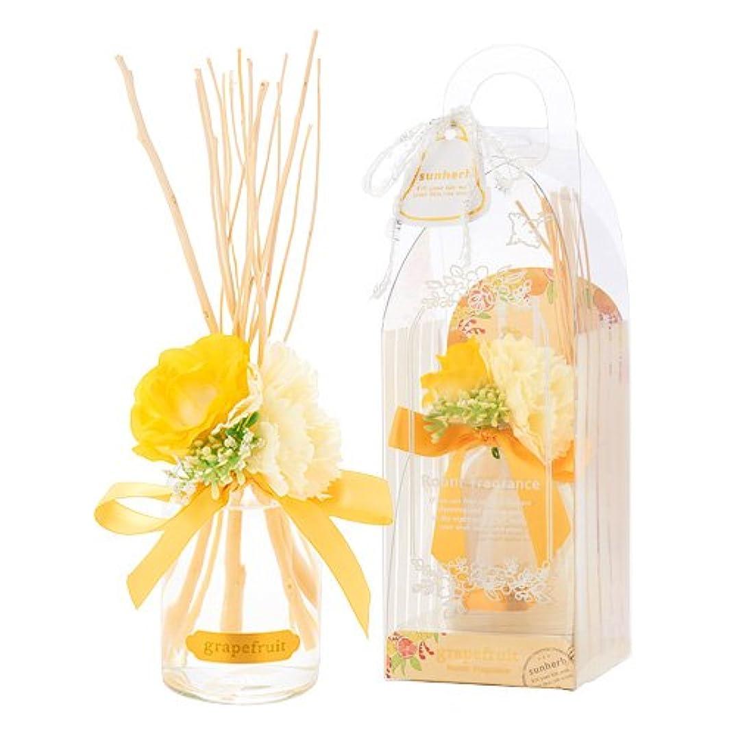 餌計算するミッションサンハーブ ルームフレグランスフラワー グレープフルーツ 100ml(芳香剤 花かざり付 シャキっとまぶしい柑橘系の香り)
