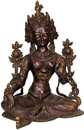 Exotic India ZDP99-chola Estatua de Tara Verde de la Deidad Budista Tibetana, Latón, 9 x 11.5 x 15-Inch