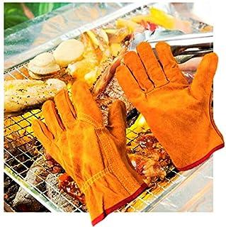 [Civil Life] 耐熱手袋 キャンプグローブ 耐熱グローブ 本革 作業用手袋 BBQ キャンプグローブ アウトドア フリーサイズ オレンジ