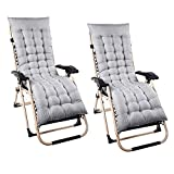 2 Pcs Sun Lounger Cushions, Pad Chair Cushion Pad Seating Cover, Chaise Lounge Cushion, Garden Patio Reclining Relaxer Thick Cushion for Travel Holiday Garden Indoor Outdoor(No Chair) (Grey)