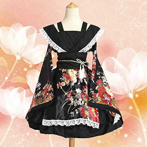 FJTHY Vestido De Mucama Cosplay Traje De Baile De Casa Y Kimono De Traje De Kimono De Flor De Viento,Negro,S