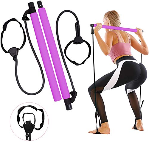 Pilates Bar, Portable Pilates Bar Kit with 2021 New Upgrade Adjustable Resistance Band for Different Height, Home Gym Exercise Stick Yoga Bar with Foot Loop for Hipsline, Stretching, Muscle Toning