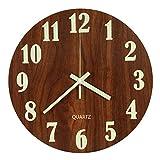 LENRUS - Reloj de Pared Luminoso, de Madera silenciosa de 30,48 cm, para Cocina, Pared con Luces de Noche, para Interior/Exterior, Sala de Estar, Dormitorio, decoración con Pilas, Funciona con Pilas