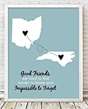 Going Away Paper Art Print | Long Distance Map Gift | Unique Friend Gift | Personalized Going Away | Best Friend Gift | Best Friend Long Distance Map | State to State Gift