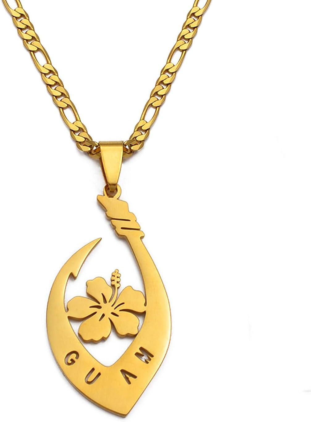 Hibiscus Flower Guam Pendant Necklaces For Women Men Gold Color Guam Jewelry Gifts 60Cm