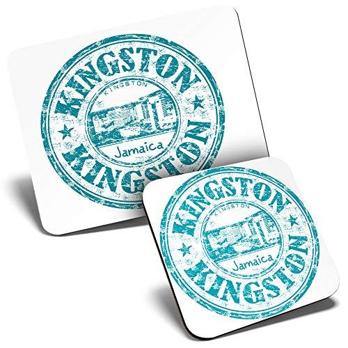 Juego de alfombrilla de ratón y posavasos de Kingston Jamaica, mapa azul de viaje, 23,5 x 19,6 cm y 9 x 9 cm, para ordenador y portátil, oficina, regalo, base antideslizante #9303